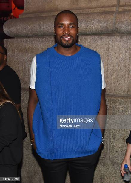 Professional Basketball Player Serge Ibaka attends the Raf Simons Front Row/Backstage at NYFW Men's July 2017 on July 11 2017 in New York City