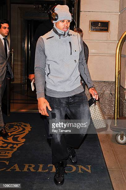 Professional basketball player Shannon Brown leaves a Midtown Manhattan hotel on February 11, 2011 in New York City.