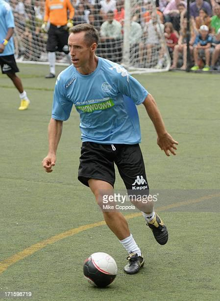 Professional basketball player Steve Nash plays soccer at Sarah D Roosevelt Park on June 26 2013 in New York City