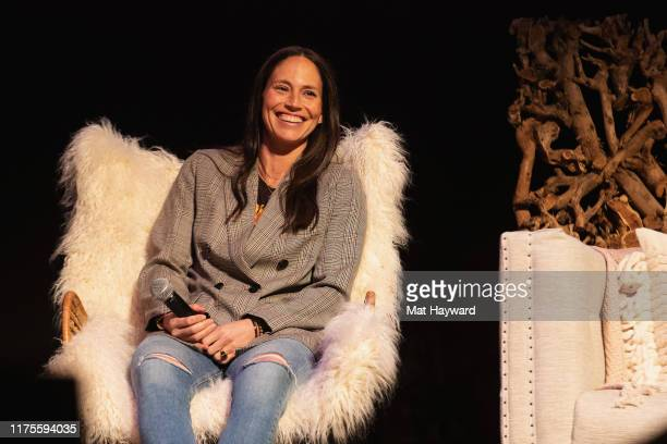 Professional basketball player Sue Bird speaks on stage during 'Together Live' at The Moore Theater on October 12 2019 in Seattle Washington