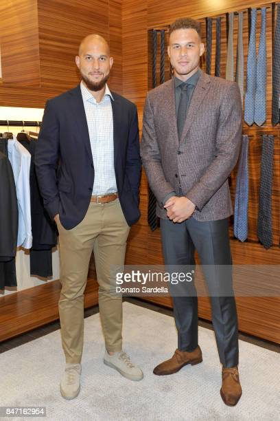 Professional basketball player Taylor Griffin and host Blake Griffin at Ermenegildo Zegna Blake Griffin Beverly Hills event 2017 at Ermenegildo Zegna...
