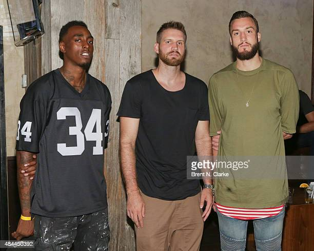 Professional basketball players Anthony Mason, Jr. And Miles Plumlee arrive for the Punk'd! private celebrity viewing party held at The Royal on...