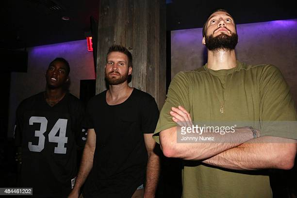 Professional basketball players Anthony Mason Jr., Shavlik Randolph, and Miles Plumlee attend the Punk'd! Private Celebrity Viewing Party at The...