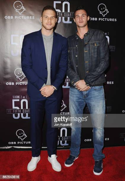 Professional basketball players Blake Griffin and Danilo Gallinari attend the premiere Of OBB Pictures And go90's The 5th Quarter at United Talent...