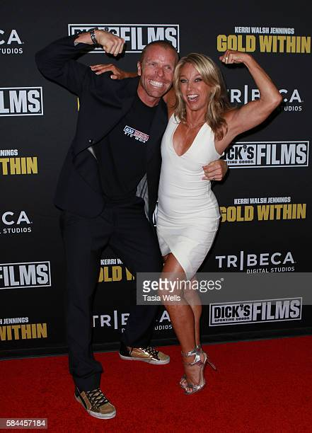 Professional beach volleyball player Casey Jennings and celebrity fitness instructor Denise Austin attend the premiere of Kerri Walsh Jennings Gold...