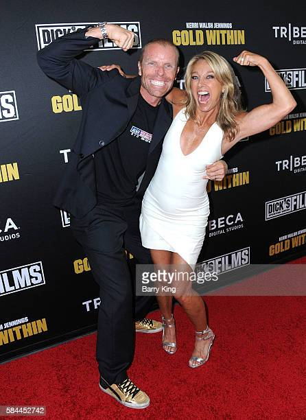 Professional beach volleyball player Casey Jennings and trainer Denise Austin attend the world premiere of 'Kerri Walsh Jennings Gold Within' at The...
