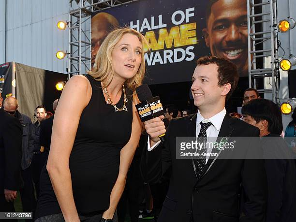 Professional beach volleyball player Kerri Walsh Jennings is interviewed as she attends the Third Annual Hall of Game Awards hosted by Cartoon...