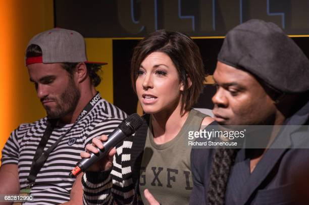 Professional bobybuilder Dana Linn Bailey during the QA session with Calum Von Moger and Kai Greene at the premiere of 'Generation Iron 2' at...