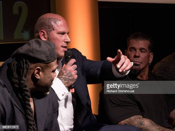 Professional bobybuilder Martyn Fordduring the QA session at the premiere of 'Generation Iron 2' at National Exhibition Centre on May 12 2017 in...