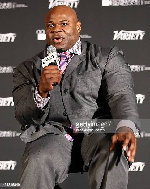 Professional bodybuilder Kai Greene speaks during a QA at the 2013 Variety Screening Series presentation of Vladar Co's Feature Documentary...