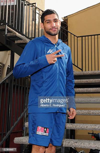 Professional boxer Amir Khan arrives to a sparring session at Wild Card Boxing Club on November 14 2011 in Hollywood California