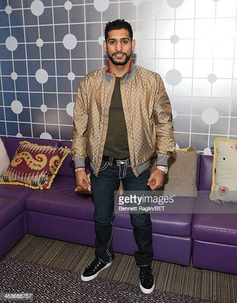 Professional boxer Amir Khan visits 106 Park at BET studio on December 3 2013 in New York City