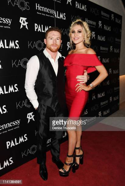 Professional boxer Canelo Álvarez and Fernanda Gomez arrive at Canelo Álvarez's fight afterparty at the AllNew KAOS Nightclub At PALMS Presented By...