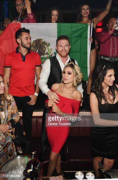 Professional boxer Canelo Álvarez celebrates his middleweight unification fight win with Fernanda Gomez at his fight afterparty at the AllNew KAOS...