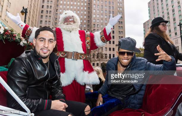 Professional boxer Danny Garcia Santa Claus and actor Bryshere Y Gray attend Macy's Center City Celebrates Its Annual Holiday Window Unveiling And...