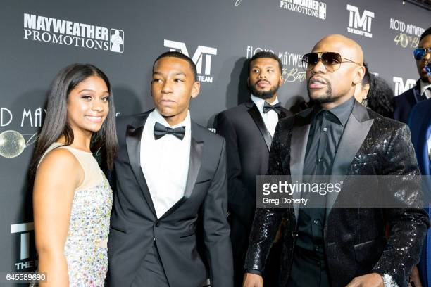 Professional Boxer Floyd Mayweather and his son Koraun attend his 40th Birthday Celebration on February 25 2017 in Los Angeles California
