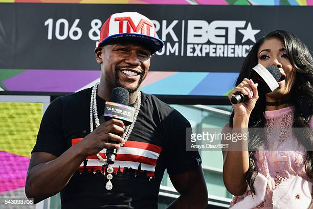 Professional boxer Floyd Mayweather and recording artist Mila J speak onstage at 106 Park Sponsored by CocaCola during the 2016 BET Experience on...