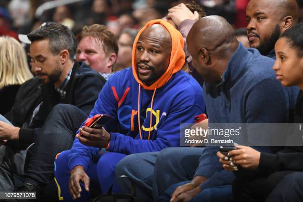 Professional Boxer Floyd Mayweather attends the game between the Charlotte Hornets and LA Clippers on January 8 2019 at STAPLES Center in Los Angeles...