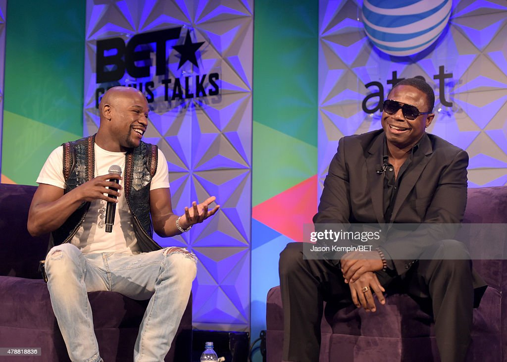 Professional boxer Floyd Mayweather, Jr. (L) and recording artist Doug E. Fresh speak onstage during the Genius Talks presented by AT&T during the 2015 BET Experience at the Los Angeles Convention Center on June 27, 2015 in Los Angeles, California.