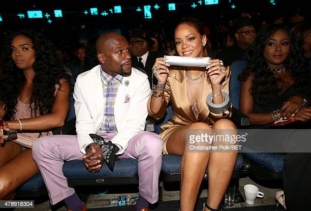 Professional boxer Floyd Mayweather Jr and recording artist Rihanna attend the 2015 BET Awards at the Microsoft Theater on June 28 2015 in Los...