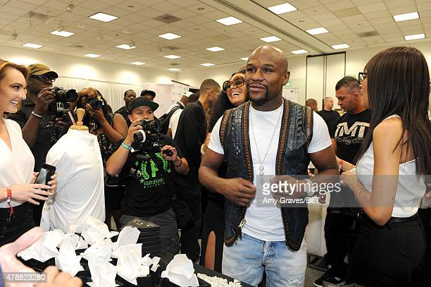Professional boxer Floyd Mayweather Jr attends the BETX gifting suite during the 2015 BET Experience at the Los Angeles Convention Center on June 27...