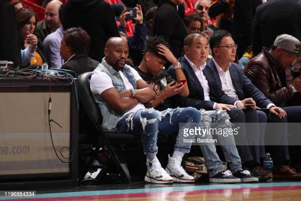 Professional boxer Floyd Mayweather watches the game on January 27, 2020 at American Airlines Arena in Miami, Florida. NOTE TO USER: User expressly...
