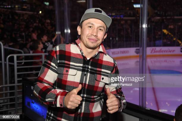 Professional boxer Gennady Golovkin attends a game between the New York Rangers and the Los Angeles Kings at STAPLES Center on January 21 2018 in Los...
