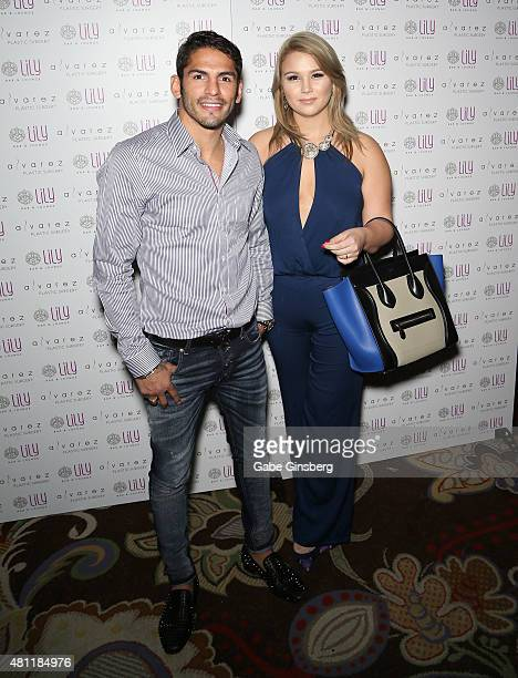 Professional boxer Jorge Linares and his wife Michelle Linares attend a party for Alvarez Plastic Surgery at Lily Bar & Lounge at the Bellagio on...
