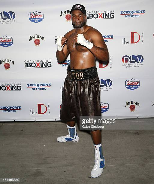 Professional boxer Kimdo 'X Factor' Boykin poses after winning his bout with Keith Barr at 'Knockout Night at the D' boxing event at the Downtown Las...