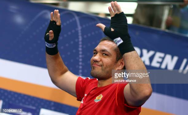 Professional boxer Kubrat Pulev from Bulgaria is pictured during a public training in a shopping mall in Schwerin Germany 20 August 2013 Photo JENS...
