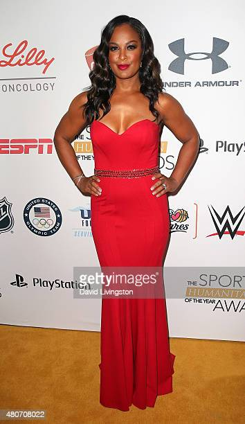 Professional boxer Laila Ali attends the 2015 Sports Humanitarian of the Year Awards at the Conga Room at LA Live on July 14 2015 in Los Angeles...
