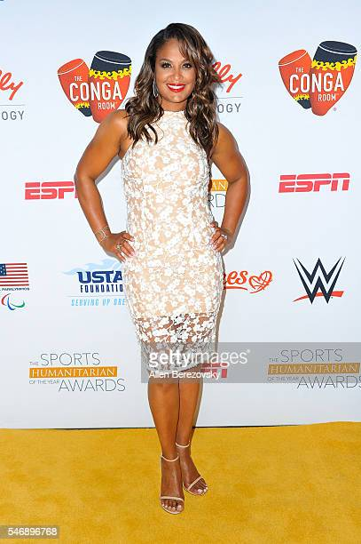Professional boxer Laila Ali attends the 2nd annual Sports Humanitarian of The Year Awards at Conga Room on July 12 2016 in Los Angeles California