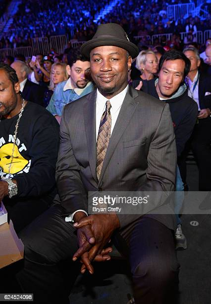 Professional boxer Lennox Lewis sits in the audience during Kovalev vs Ward and D'USSE Lounge at TMobile Arena on November 19 2016 in Las Vegas Nevada