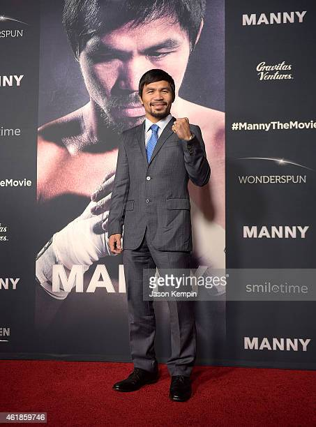Professional boxer Manny Pacquiao attends the premiere of 'Manny' at TCL Chinese Theatre on January 20 2015 in Hollywood California