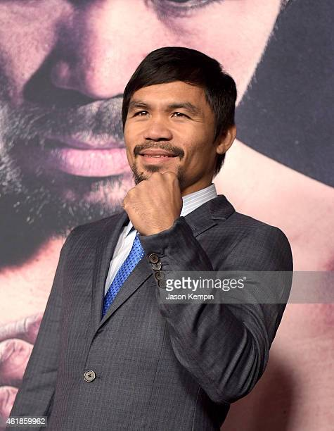 Professional boxer Manny Pacquiao attends the premiere of Manny at TCL Chinese Theatre on January 20 2015 in Hollywood California