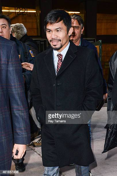 Professional boxer Manny Pacquiao leaves the Sirius XM Studios on January 16 2015 in New York City