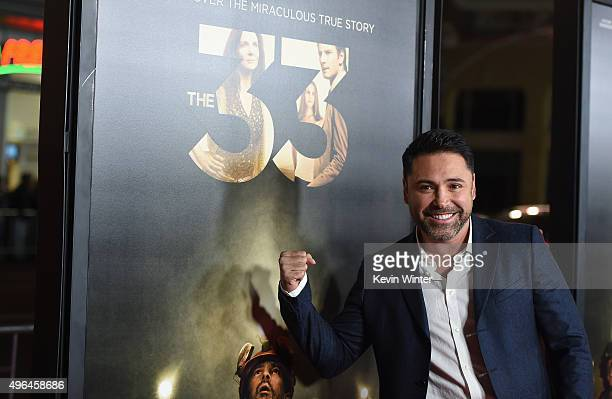 """Professional boxer Oscar De La Hoya attends the Centerpiece Gala Premiere of Alcon Entertainment's """"The 33"""" during AFI FEST 2015 presented by Audi at..."""
