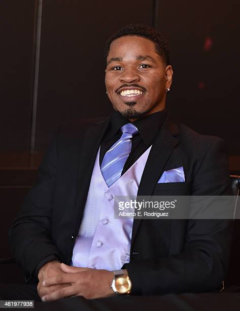 Professional boxer Shawn Porter attends Spike TV's announcement of it's new boxing series 'Premier Boxing Champions' on January 22 2015 in Santa...