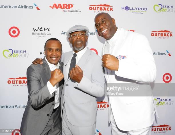 Professional boxer Sugar Ray Leonard actor Samuel L Jackson and professional basketball player Magic Johnson at HollyRod Foundation's DesignCare Gala...
