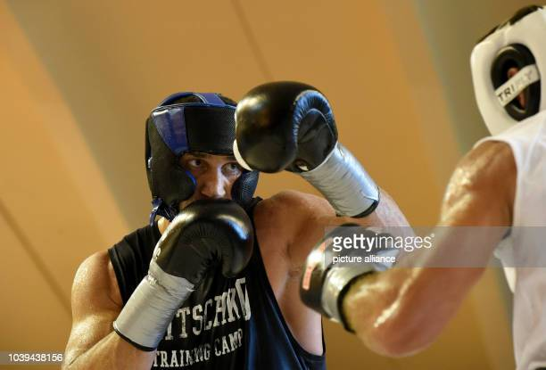 Professional boxer Wladimir Klitschko in action during a training session for his next fight against Kubrat Pulev in Going Austria 19 August 2014 The...