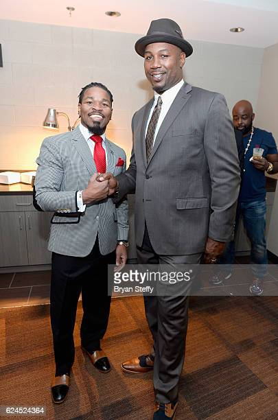 Professional boxers Shawn Porter and Lennox Lewis attend the D'USSE Lounge at Kovalev vs Ward at TMobile Arena on November 19 2016 in Las Vegas Nevada