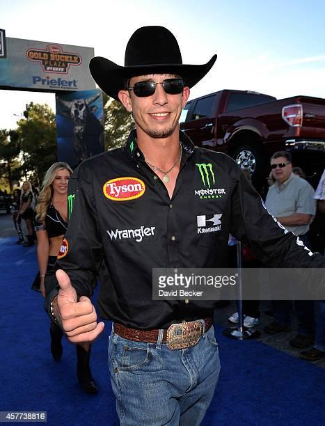 Professional bull rider JB Mauney arrives at the second round of the Professional Bull Rider's Built Ford Tough World Finals at the Thomas Mack...