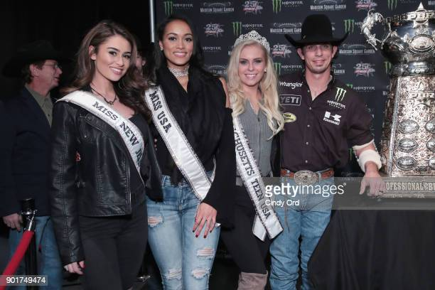 Professional bull rider JB Mauney poses for a photo with Miss New Jersey USA 2018 Alexa Noone Miss USA 2017ÊKara McCullough and Miss Massachusetts...