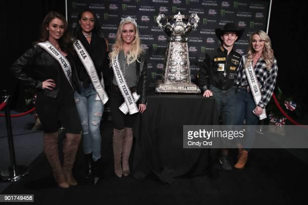 Professional bull rider Jess Lockwood poses for a photo with Miss New Jersey USA 2018 Alexa Noone Miss USA 2017ÊKara McCullough Miss Massachusetts...