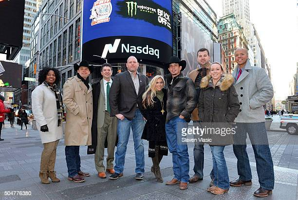 Professional Bull Riders CEO Sean Gleason 2015 Professional Bull Riders World Champion JB Mauney and guests visit the opening bell at NASDAQ...