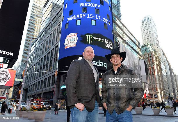 Professional Bull Riders CEO Sean Gleason and 2015 Professional Bull Riders World Champion JB Mauney visit the opening bell at NASDAQ MarketSite on...