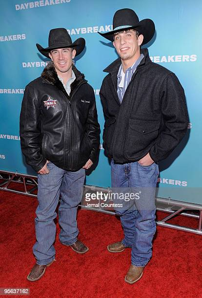 Professional Bull Riders Kody Lostroh and JB Mauney attend the premiere of Daybreakers at the SVA Theater on January 7 2010 in New York City