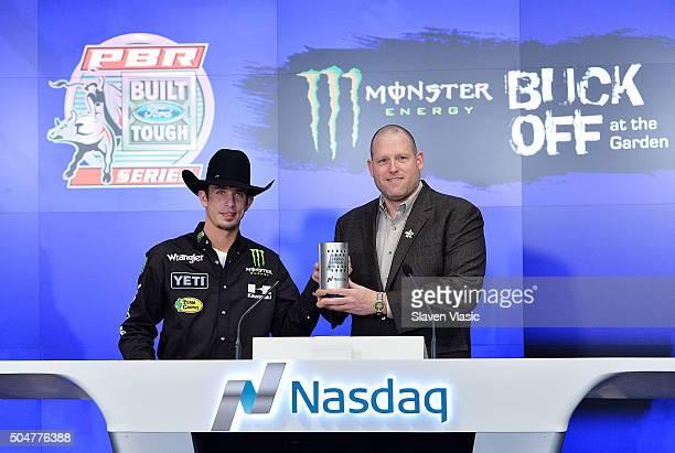 Professional Bull Riders World Champion JB Mauney and Professional Bull Riders CEO Sean Gleason ring the opening bell at NASDAQ MarketSite on January...