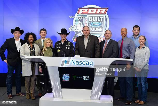 Professional Bull Riders World Champion JB Mauney Professional Bull Riders CEO Sean Gleason and guests ring the opening bell at NASDAQ MarketSite on...