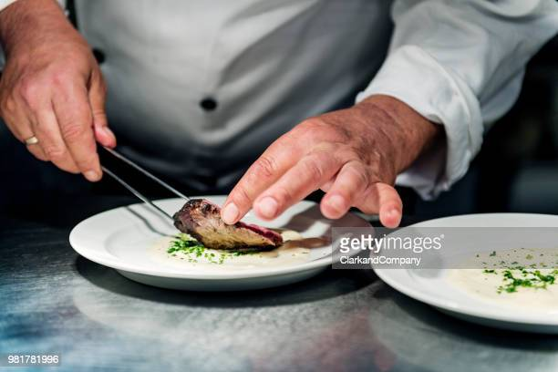 chef profissional no trabalho - carne de cervo - fotografias e filmes do acervo